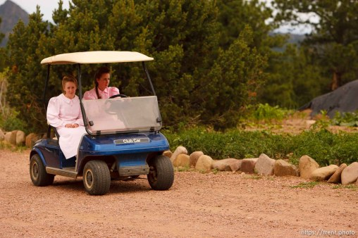 Westcliffe - . Monday, July 28, 2008. girls and golf cart