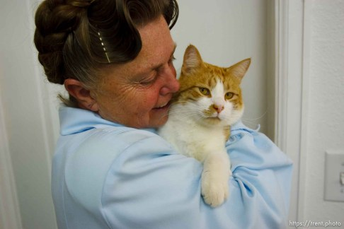 Westcliffe - . Monday, July 28, 2008. woman with cat