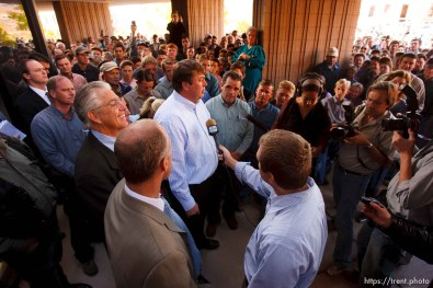 St. George - FLDS members outside the courthouse. A hearing at the 5th district courthouse Friday November 14, 2008 on the proposed sale of UEP trust land including Berry Knoll, a site the FLDS say has religious value, was continued after the attorney general's office stepped in and pressured both sides to seek a settlement. Willie Jessop, Tim Bodily press conference