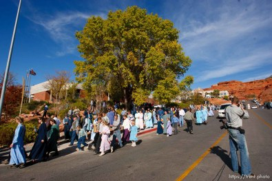 St. George - FLDS members outside the courthouse. A hearing at the 5th district courthouse Friday November 14, 2008 on the proposed sale of UEP trust land including Berry Knoll, a site the FLDS say has religious value, was continued after the attorney general's office stepped in and pressured both sides to seek a settlement. christopher onstott
