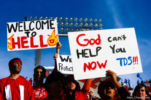 Salt Lake City - . Utah vs. BYU college football Saturday, November 22, 2008 at Rice-Eccles Stadium. Saturday November 22, 2008. utah fans with welcome to hell signs