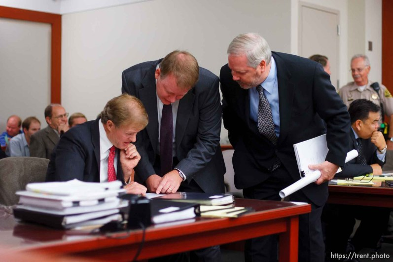 Salt Lake City - A hearing held at the Matheson Courthouse Wednesday, July 29, 2009 to decide on the sale of the Berry Knoll property in the United Effort Plan (UEP) land trust. jeff shields, zachary shields, roger hoole