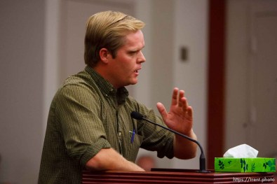 Salt Lake City - Patrick Pipkin speaks at a hearing held in the Matheson Courthouse Wednesday, July 29, 2009 to decide on the sale of the Berry Knoll property in the United Effort Plan (UEP) land trust. patrick pipkin