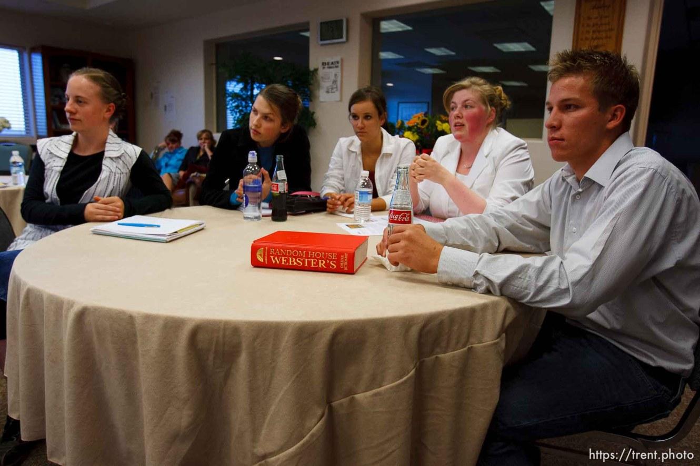 Centennial Park -at a meeting of Voice Box, Tuesday August 11, 2009. Emily Williams, Beth Hammon, Marie Dockstader, Rebecca Hammon, William LeBaron