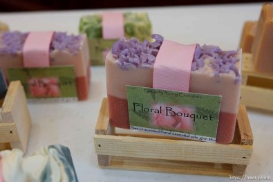 """Hildale -, Wednesday August 12, 2009. Dianna Peine and Roxanne Johnson sell their handmade soaps under the label """"Naturally Young Essentials"""""""