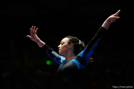 Trent Nelson | The Salt Lake Tribune Salt Lake City - BYU's Krysten Koval on the beam, Utah vs. BYU college gymnastics Friday, March 26, 2010.