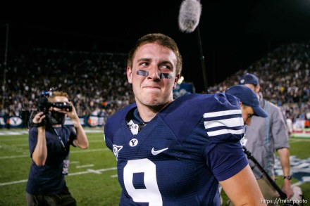 Trent Nelson | The Salt Lake Tribune BYU quarterback Jake Heaps after the win. BYU vs. Washington, college football at Lavell Edwards Stadium in Provo, Saturday, September 4, 2010.
