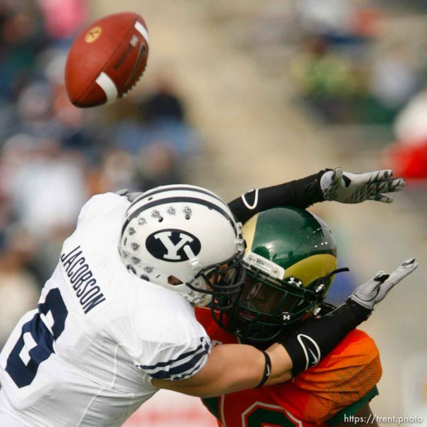 Trent Nelson | The Salt Lake Tribune Colorado State's Shaq Bell was called for pass interference on BYU receiver McKay Jacobson (6), during the first half. BYU vs. Colorado State, college football, Saturday, November 13, 2010.