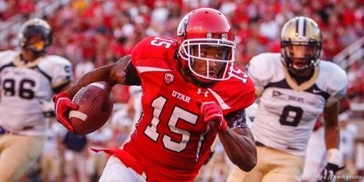 Trent Nelson | The Salt Lake Tribune . Utah vs. Montana State in Salt Lake City, Utah, Thursday, September 1, 2011. john white runs for touchdown