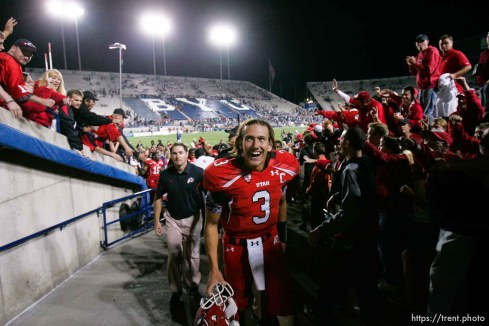 Trent Nelson | The Salt Lake Tribune BYU vs. Utah, college football in Provo, Utah, Saturday, September 17, 2011. utes celebrate win, Utah quarterback Jordan Wynn (3)