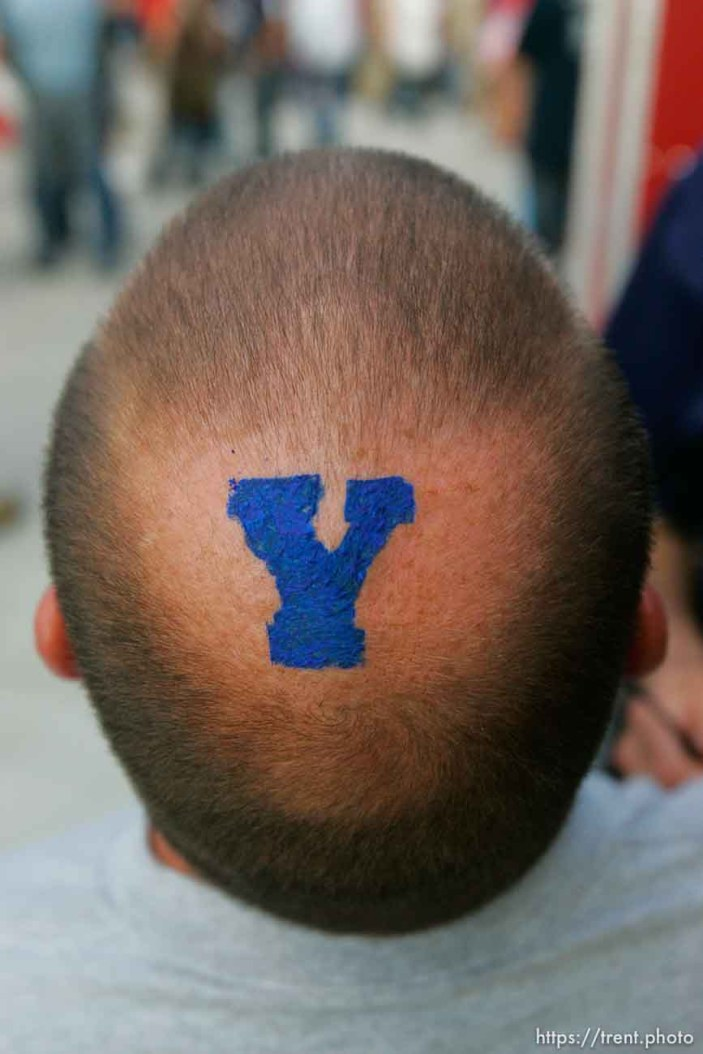 Trent Nelson | The Salt Lake Tribune byu fan with bald spot. BYU vs. Utah college football at Lavell Edwards Stadium in Provo, Utah September 17, 2011.