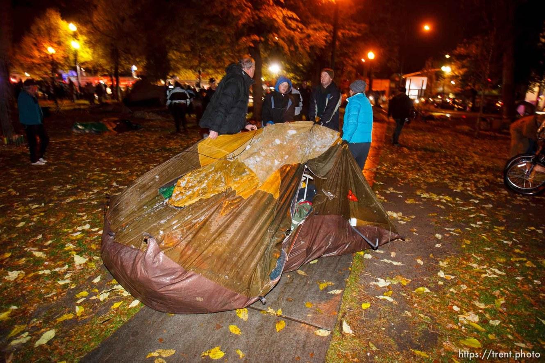 Trent Nelson | The Salt Lake Tribune Salt Lake City police cleared the Occupy Salt Lake tent city from Pioneer Park in Salt Lake City, Utah, Saturday, November 12, 2011.