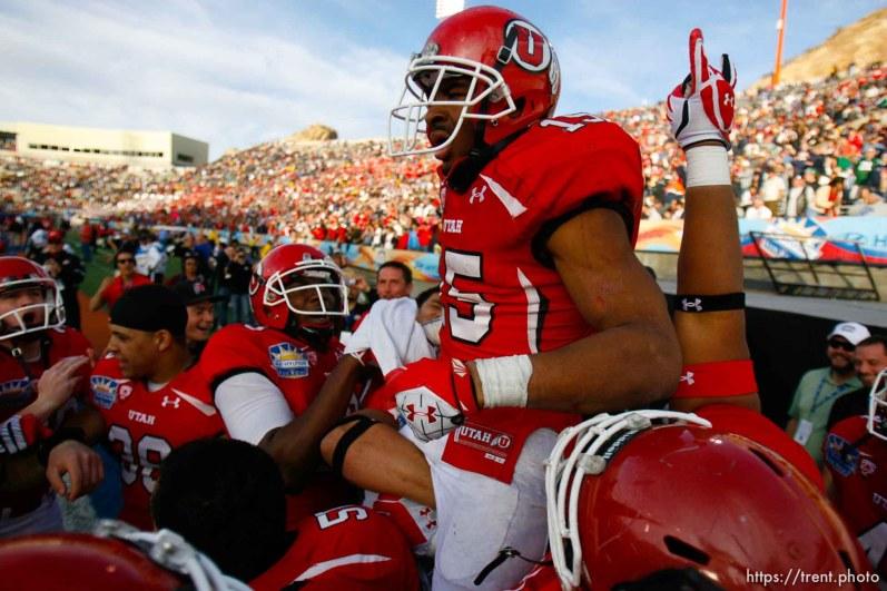 Trent Nelson | The Salt Lake Tribune Utah running back John White celebrates his game-winning touchdown as the University of Utah defeated Georgia Tech, college football at the Sun Bowl in El Paso, Texas, Saturday, December 31, 2011.