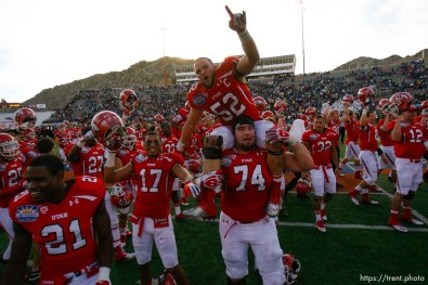 Trent Nelson | The Salt Lake Tribune Utah players celebrate their win over Georgia Tech, college football at the Sun Bowl in El Paso, Texas, Saturday, December 31, 2011.
