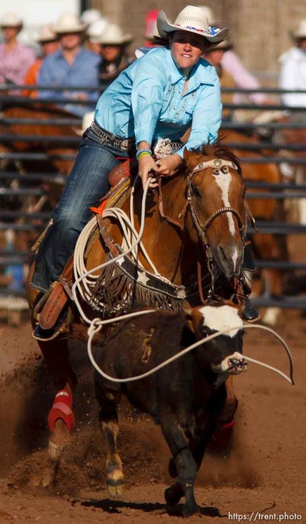 Trent Nelson | The Salt Lake Tribune Jessica Brinkerhoff in the breakaway competition at the Utah High School Rodeo Finals Saturday, June 9, 2012 in Heber City, Utah.