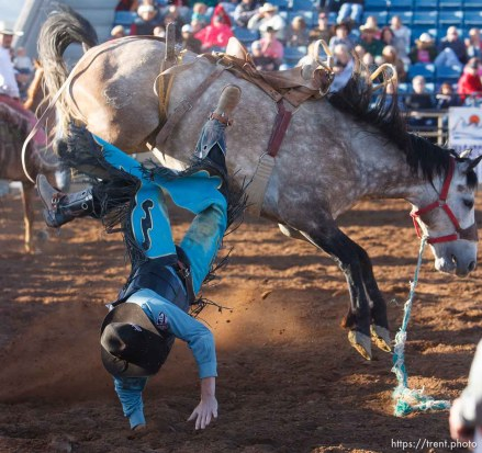 Trent Nelson | The Salt Lake Tribune Garrett Walters in the saddle bronc competition at the Utah High School Rodeo Finals Saturday, June 9, 2012 in Heber City, Utah.