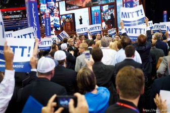 Trent Nelson | The Salt Lake Tribune Delegates cheer as Mitt Romney gets enough votes for the nomination on the first day of the Republican National Convention in Tampa, Florida, Tuesday, August 28, 2012.