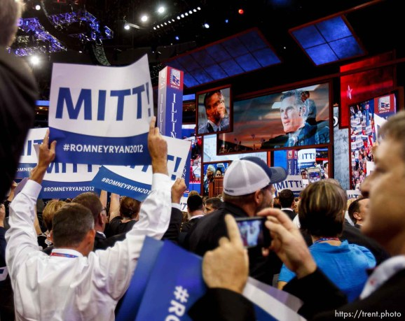 Trent Nelson | The Salt Lake Tribune Mitt Romney secures the votes needed for the nomination of the Republican Party on the first day of the Republican National Convention in Tampa, Florida, Tuesday, August 28, 2012.
