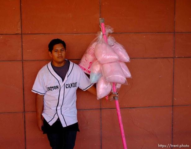 Trent Nelson   The Salt Lake Tribune cotton candy seller as Utah hosts BYU college football in Salt Lake City, Utah, Saturday, September 15, 2012.