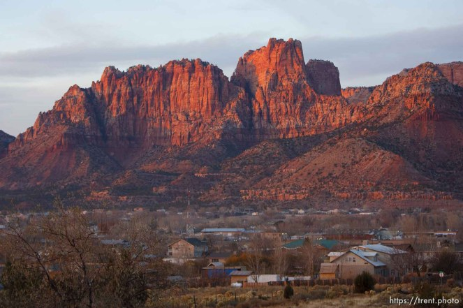 Trent Nelson   The Salt Lake Tribune The sun sets on the community of Colorado City, Arizona and Hildale, Utah Thursday November 29, 2012.