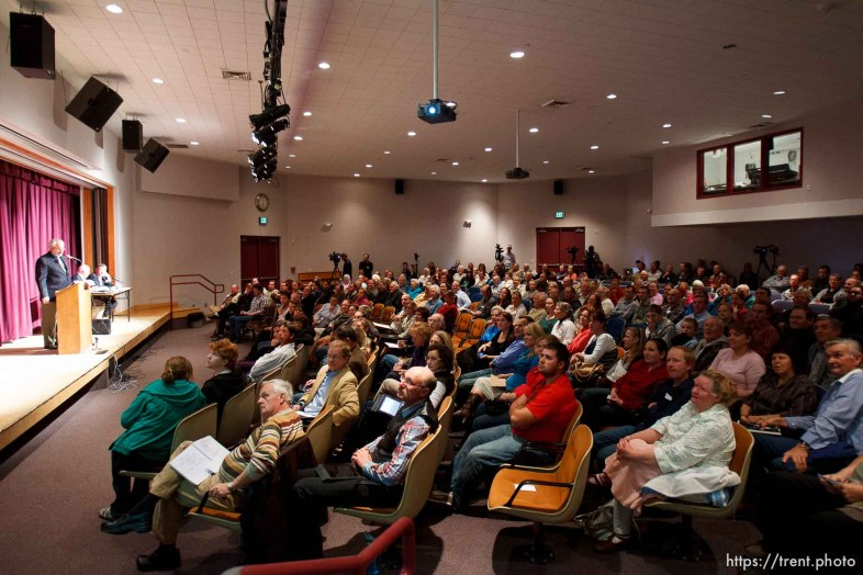 Trent Nelson | The Salt Lake Tribune Attendees watch a PowerPoint slideshow put together by the Utah Attorney General's office at a community meeting regarding the United Effort Plan (UEP) trust Friday November 30, 2012 in Colorado City.