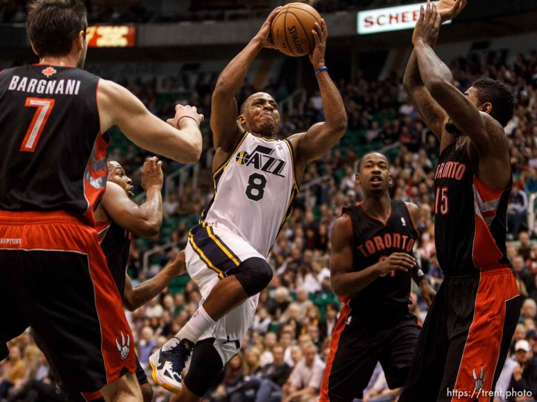 Trent Nelson | The Salt Lake Tribune Utah Jazz point guard Randy Foye (8) shoots the ball as the Utah Jazz face the Toronto Raptors Friday December 7, 2012.