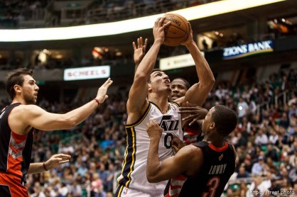 Trent Nelson | The Salt Lake Tribune Utah Jazz center Enes Kanter (0) shoots as the Utah Jazz face the Toronto Raptors Friday December 7, 2012.