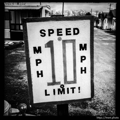 speed limit 10 mph sign at trailer park. south state project.