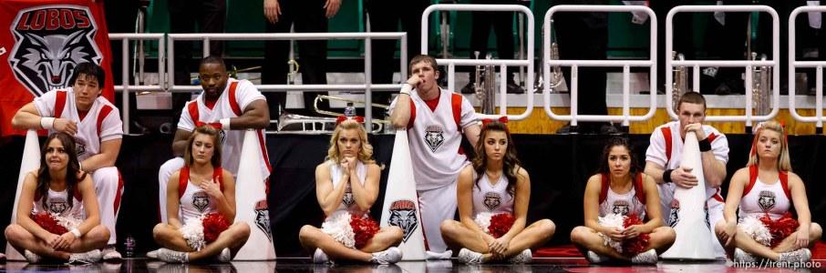 New Mexico cheerleaders, as Harvard wins, NCAA basketball tournament , Thursday March 21, 2013 in Salt Lake City.