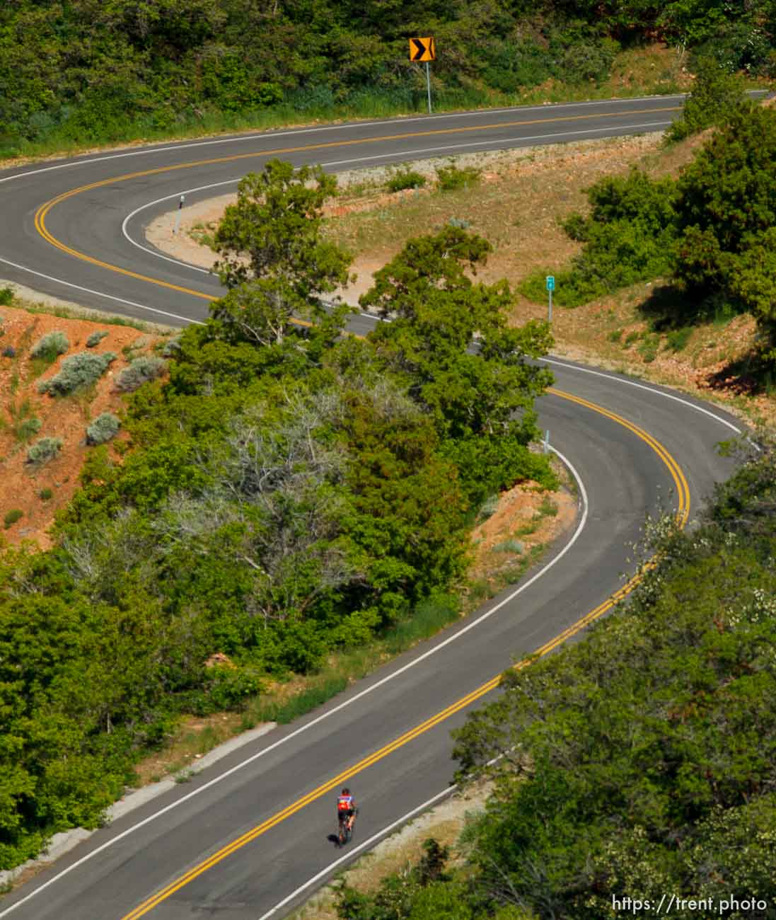 Trent Nelson | The Salt Lake Tribune A cyclist climbs to the top of Big Mountain Pass Tuesday June 11, 2013 east of Salt Lake City.