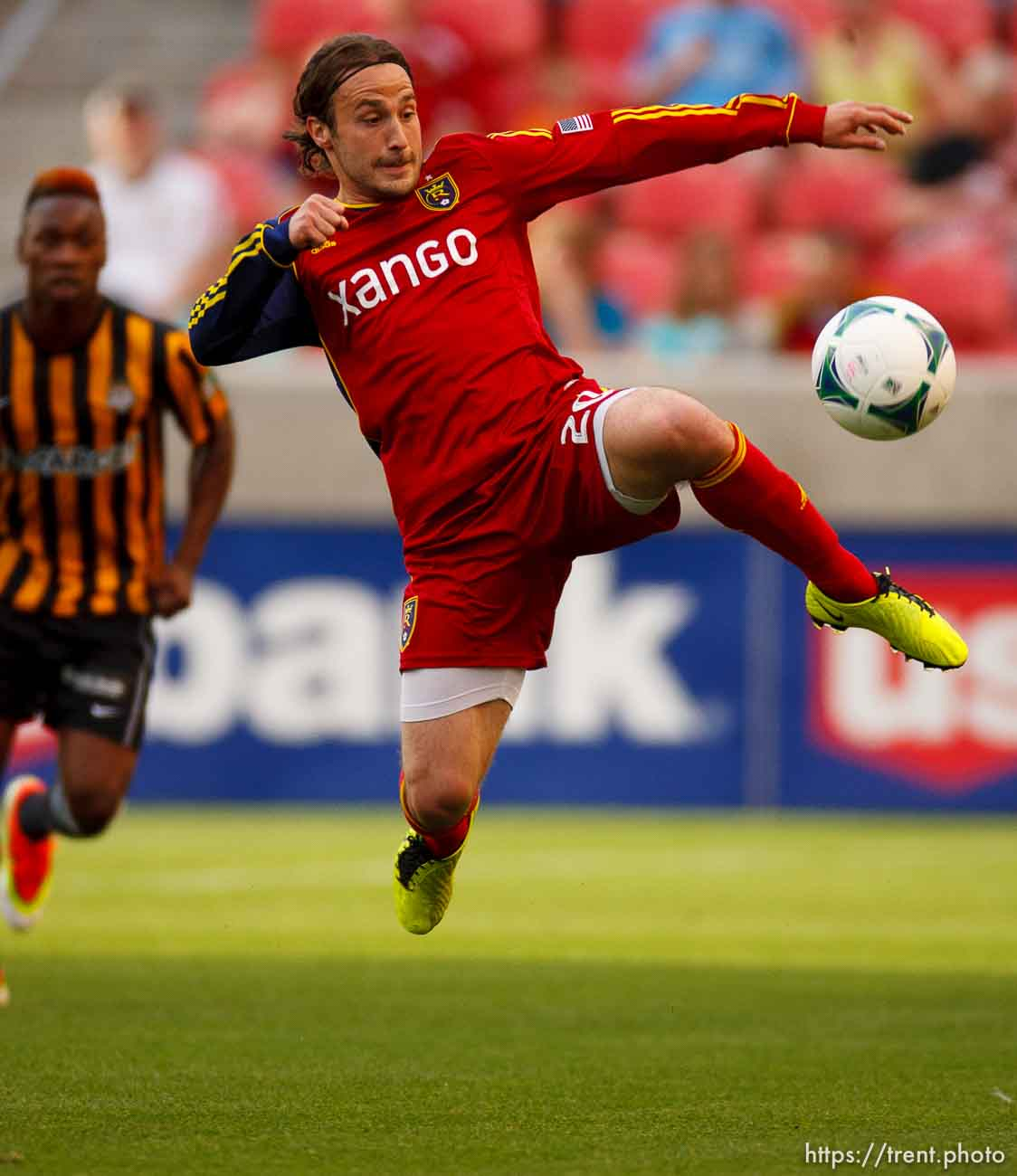 Trent Nelson | The Salt Lake Tribune Real Salt Lake's Ned Grabavoy leaps for the ball as Real Salt Lake hosts Charleston Battery in the US Open Cup Wednesday June 12, 2013 at Rio Tinto Stadium in Sandy, Utah.