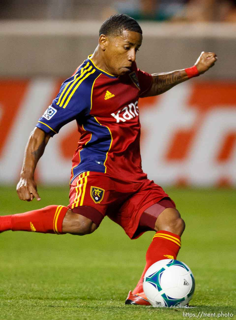 Trent Nelson | The Salt Lake Tribune Real Salt Lake's Joao Plata scores a second half goal as Real Salt Lake hosts Charleston Battery in the US Open Cup Wednesday June 12, 2013 at Rio Tinto Stadium in Sandy, Utah.