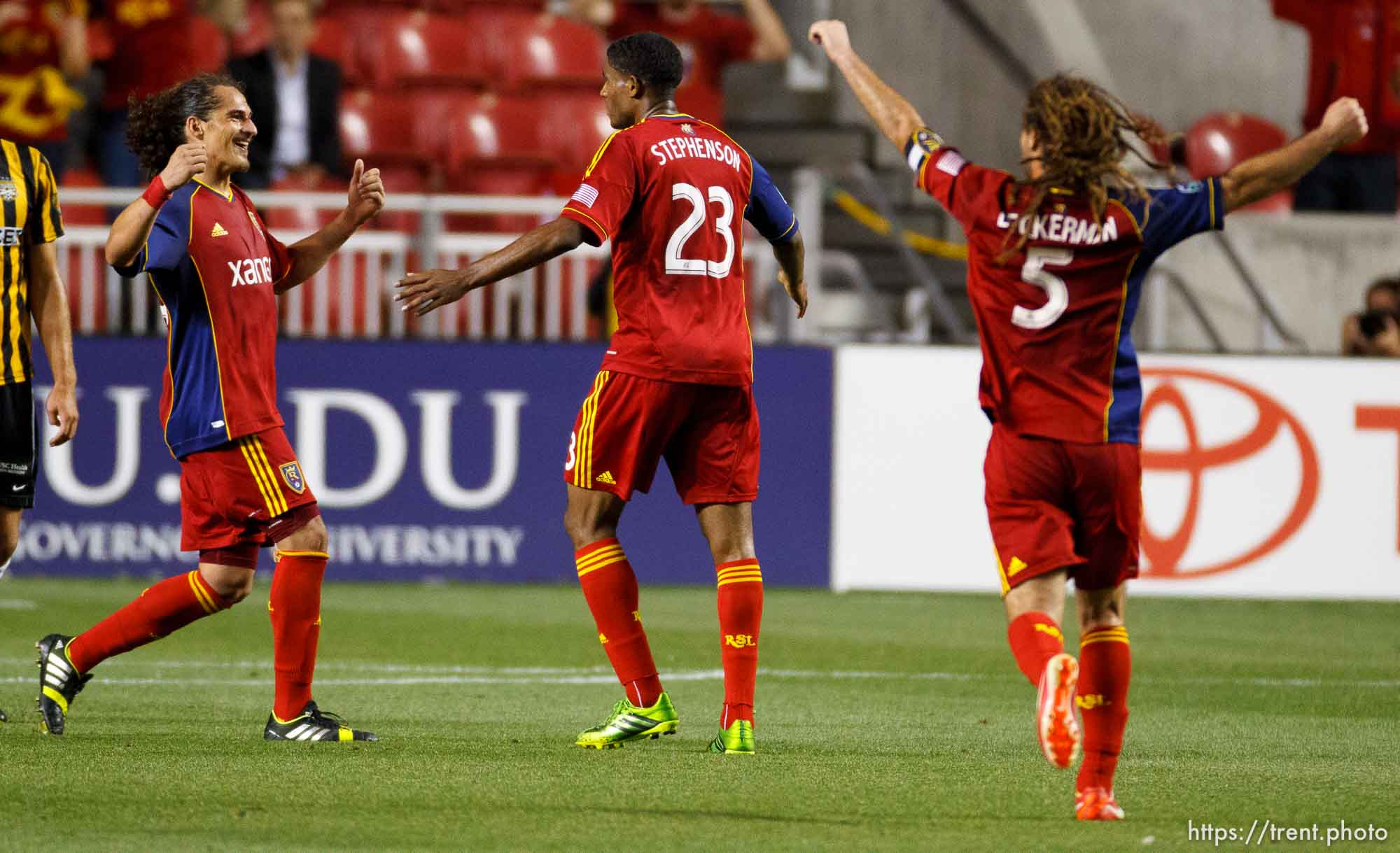 Trent Nelson | The Salt Lake Tribune Real Salt Lake's Devon Sandoval, Khari Stephenson and Kyle Beckerman celebrate Stephenson's goal in the first overtime period as Real Salt Lake hosts Charleston Battery in the US Open Cup Wednesday June 12, 2013 at Rio Tinto Stadium in Sandy, Utah.