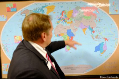 Trent Nelson   The Salt Lake Tribune A map at the Missionary Training Center of the Church of Jesus Christ of Latter-day Saints displays international church missions, Tuesday June 18, 2013 in Provo.