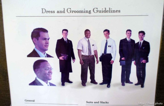 Trent Nelson | The Salt Lake Tribune Dress and grooming guidelines for missionaries at the Missionary Training Center of the Church of Jesus Christ of Latter-day Saints in Provo Tuesday June 18, 2013.