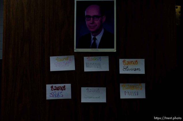 Trent Nelson   The Salt Lake Tribune Name tags of sister missionaries under a portrait of Henry B. Eyring on women's dorm room at the Missionary Training Center of the Church of Jesus Christ of Latter-day Saints in Provo Tuesday June 18, 2013.