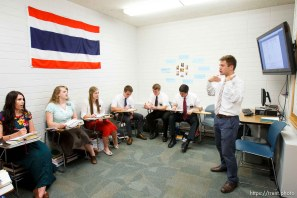 Trent Nelson   The Salt Lake Tribune Missionaries learning Thai at the Missionary Training Center of the Church of Jesus Christ of Latter-day Saints in Provo Tuesday June 18, 2013. Aaron Proctor, their teacher, at right.