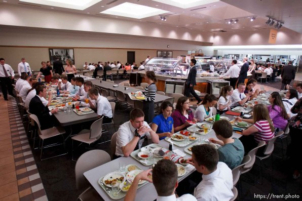 Trent Nelson   The Salt Lake Tribune Missionaries eat lunch in the cafeteria at the Missionary Training Center of the Church of Jesus Christ of Latter-day Saints in Provo Tuesday June 18, 2013.