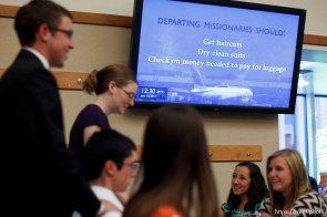 Trent Nelson   The Salt Lake Tribune A video screen offers advice to departing missionaries at the Missionary Training Center of the Church of Jesus Christ of Latter-day Saints in Provo.