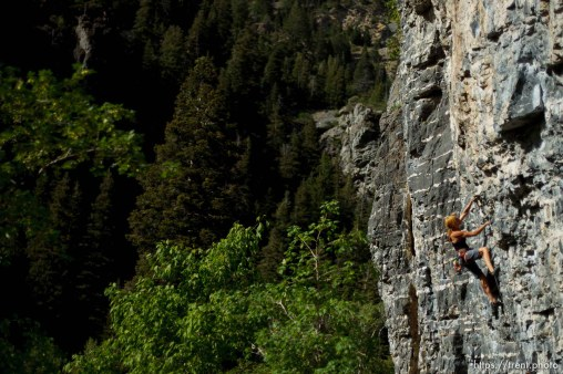 Trent Nelson | The Salt Lake Tribune Mindy Shulak climbs the Division Wall, Wednesday June 19, 2013 in American Fork Canyon.
