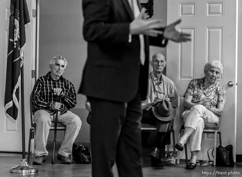 Trent Nelson | The Salt Lake Tribune Senator Mike Lee meets with constituents at a townhall meeting in Spanish Fork, Wednesday August 21, 2013.