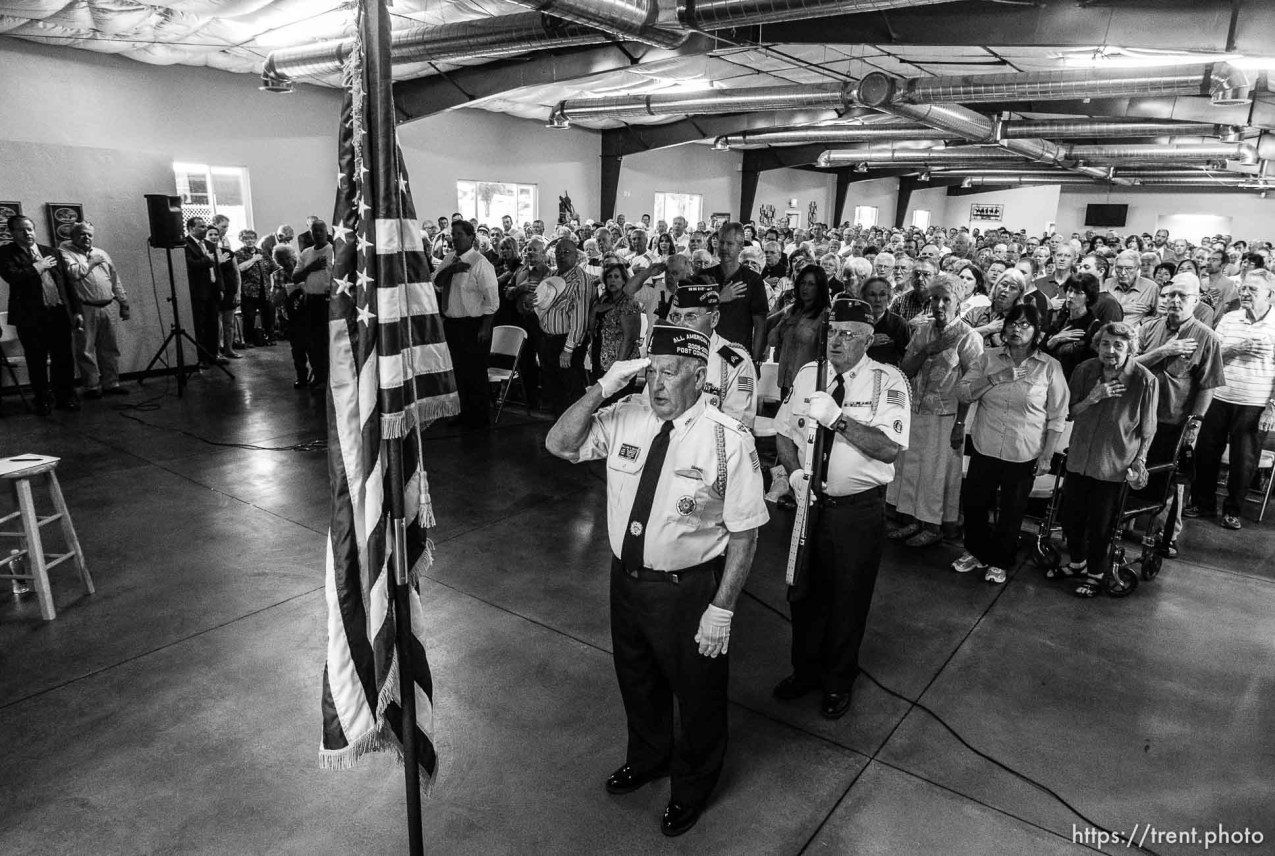 Trent Nelson | The Salt Lake Tribune A VFW Honor Guard leads the pledge of allegience as Senator Mike Lee meets with constituents at a townhall meeting in Spanish Fork, Wednesday August 21, 2013. William Brook at front