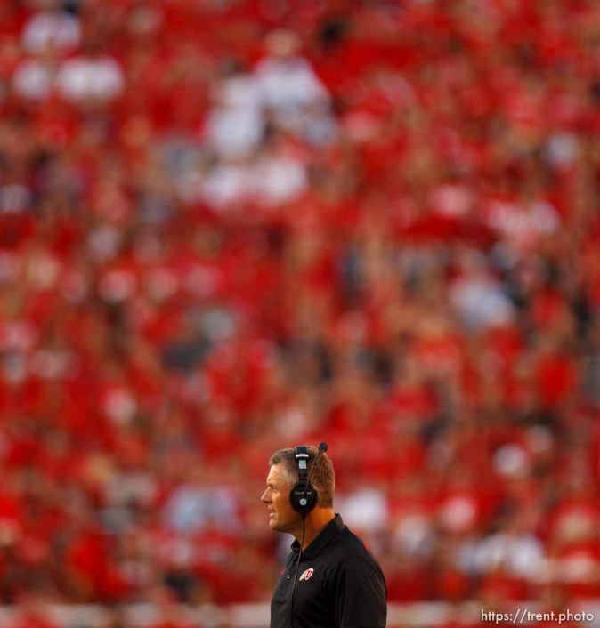 Trent Nelson | The Salt Lake Tribune Utah coach Kyle Whittingham looks on as Utah State takes a 17-14 first half lead as the University of Utah hosts Utah State, college football Thursday, August 29, 2013 at Rice-Eccles Stadium in Salt Lake City.