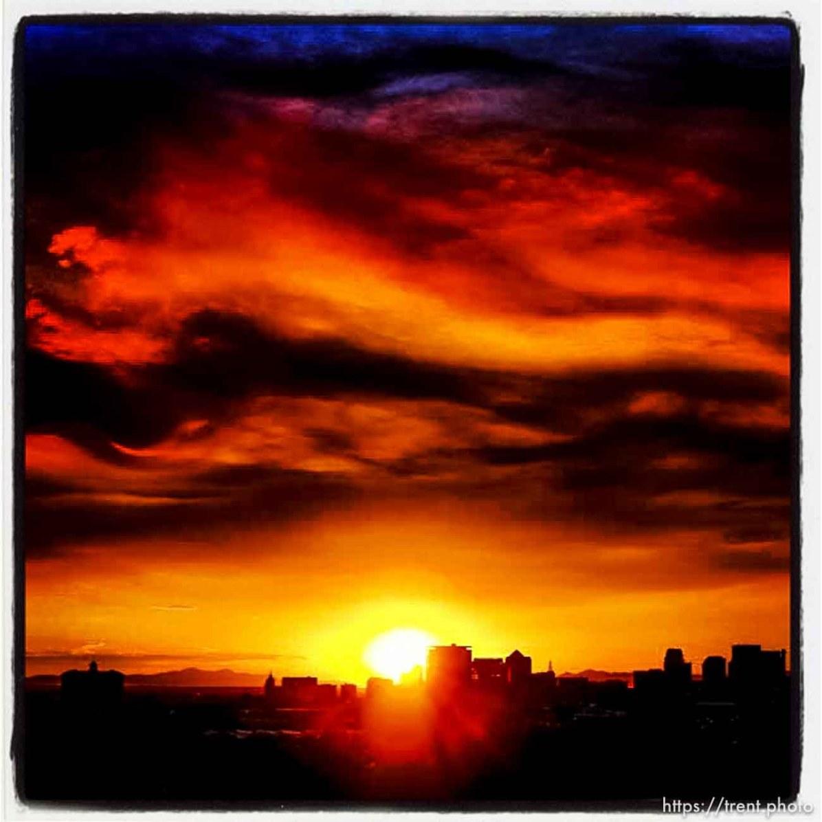 smoky sunset, Sunday August 11, 2013.