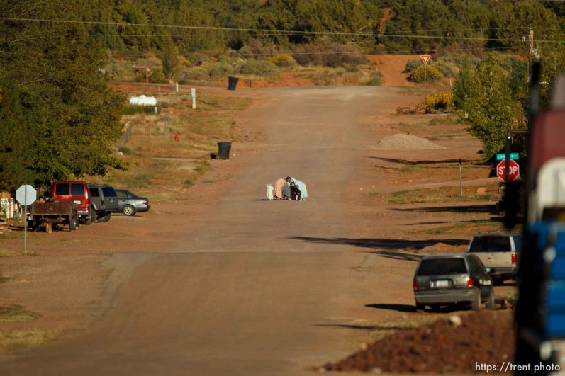 Trent Nelson | The Salt Lake Tribune women and girls walking in Colorado City, Sunday, October 6, 2013.
