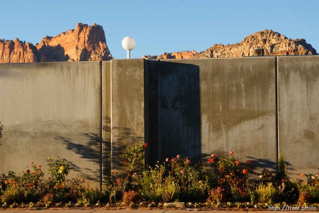 Trent Nelson | The Salt Lake Tribune flowers along wall at bishop's storehouse, in Colorado City, Sunday, October 6, 2013.