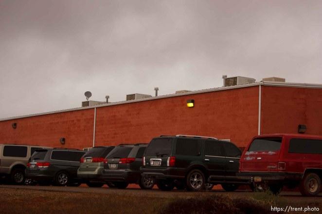 Trent Nelson | The Salt Lake Tribune vehicles at building, in Hildale Thursday, October 10, 2013.