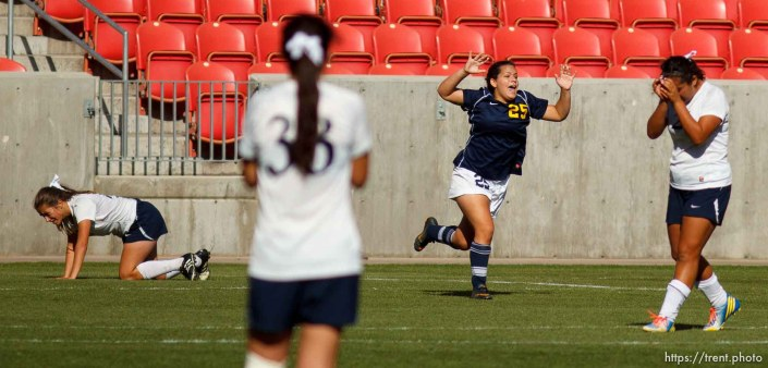 Trent Nelson | The Salt Lake Tribune Summit's Juliana Stratford celebrates her goal as Waterford faces Summit Academy in the 2A high school girls' soccer state championship game at Rio Tinto Stadium in Sandy, Saturday October 26, 2013.