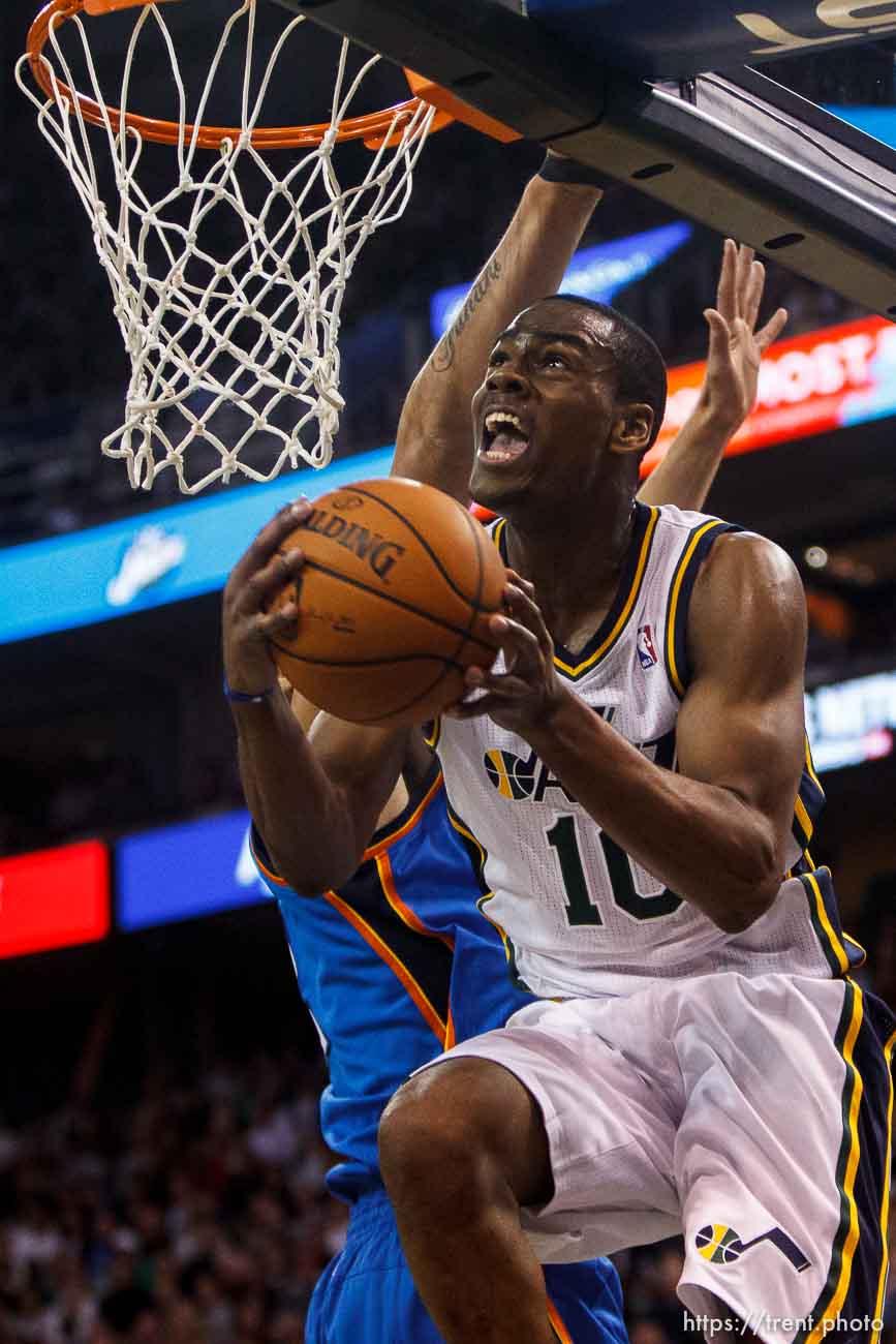 Trent Nelson | The Salt Lake Tribune Utah Jazz guard Alec Burks (10) scores as the Utah Jazz host the Oklahoma City Thunder, NBA Basketball at EnergySolutions Arena in Salt Lake City, Wednesday October 30, 2013.