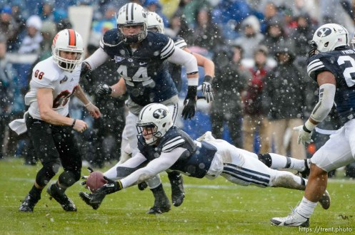 Trent Nelson | The Salt Lake Tribune Brigham Young Cougars defensive back Dallin Leavitt (11) comes close to scooping up an Idaho State pass, as BYU hosts Idaho State, college football at LaVell Edwards Stadium in Provo, Saturday November 16, 2013.